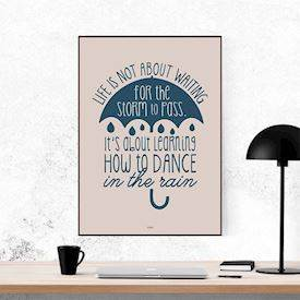 Plakat - Dance in the rain - umbrella - colors