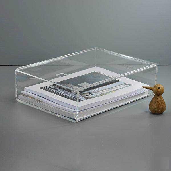 Akryl Box modena kasse i klar akryl med låg. a4