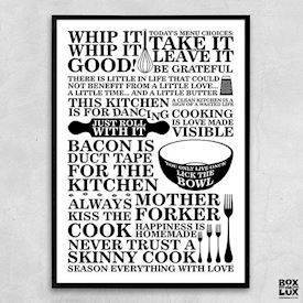 Plakat - Citatcollage - Kitchen, sort/hvid