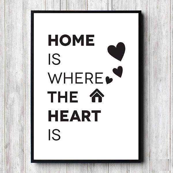 3676a5bb plakat med teksten home is where the heart is